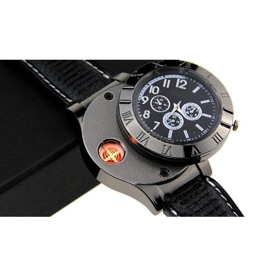 F665 手錶打火機充電防風 USB 電子點煙器金屬男士腕表火機