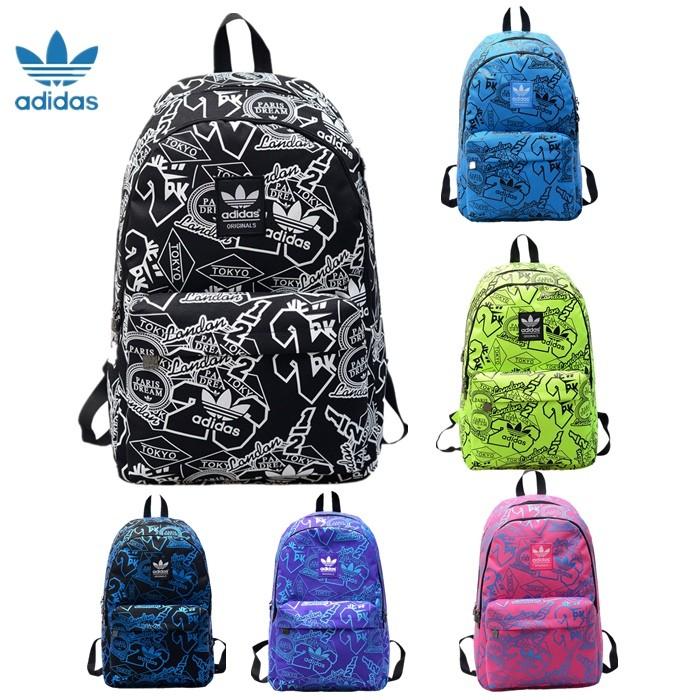 Adidas 阿迪達斯三葉草雙肩包後背包印花22 字塗鴉背包男女 學院風學生書包情侶包電腦