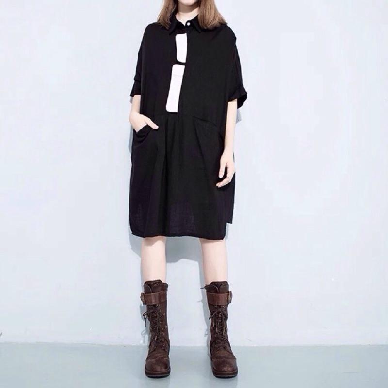 Y2 ™假襯衫白色塊狀口袋娃娃裝寬版洋裝寬鬆大版大 顯瘦 款