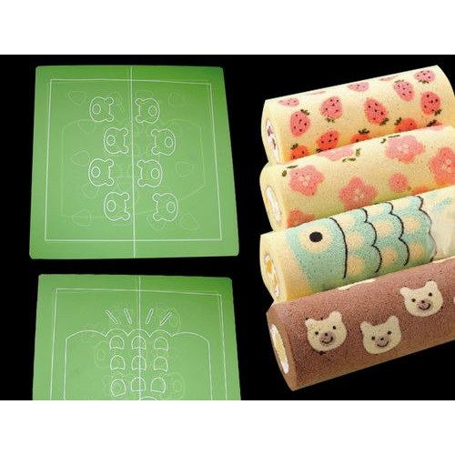 彩繪瑞士捲墊矽膠蛋糕捲印模墊~草莓梅花魚小熊~◆◆大祺 ◆◆