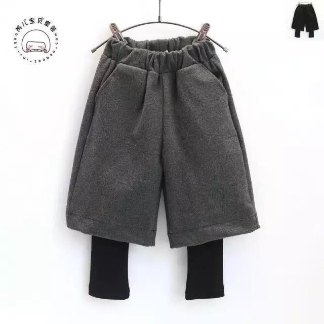韓國女 2016  兒童寶寶加絨百搭假兩件套打底闊腿褲
