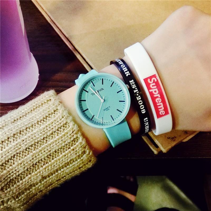 ~~ 風~~韓國原宿手表女生學生軟妹日系簡約 小清新 可愛純色薄荷綠手錶 手錶女生 男生