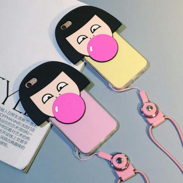 蘋果Apple 系列韓國吹泡泡女孩防摔矽膠掛繩保護套