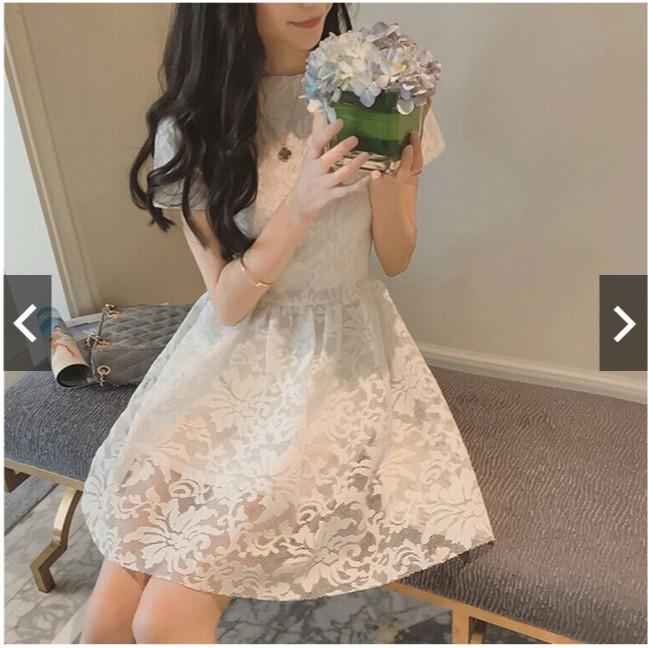 TVT 小铺 短袖洋裝蕾絲連身裙小禮服宴會主持伴娘服公主裙修身顯瘦大碼
