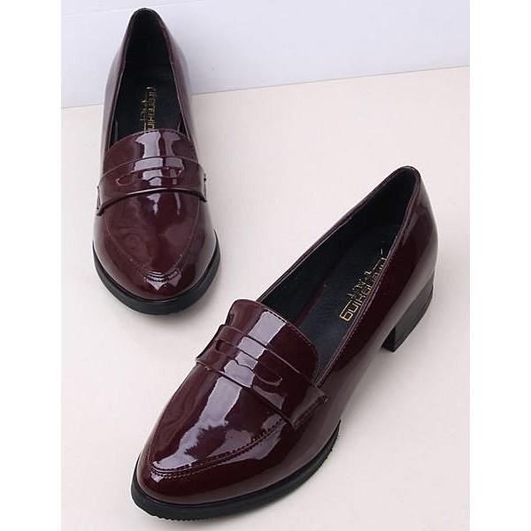 亮面漆皮牛津鞋踝靴英倫布羅克中性風尖頭套腳低跟包鞋女單鞋休閒簡單百搭