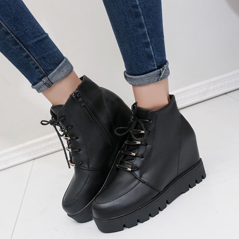 ~本小姐任性~2016 春秋 女靴加絨馬丁靴子女英倫坡跟短靴內增高圓頭短筒單靴