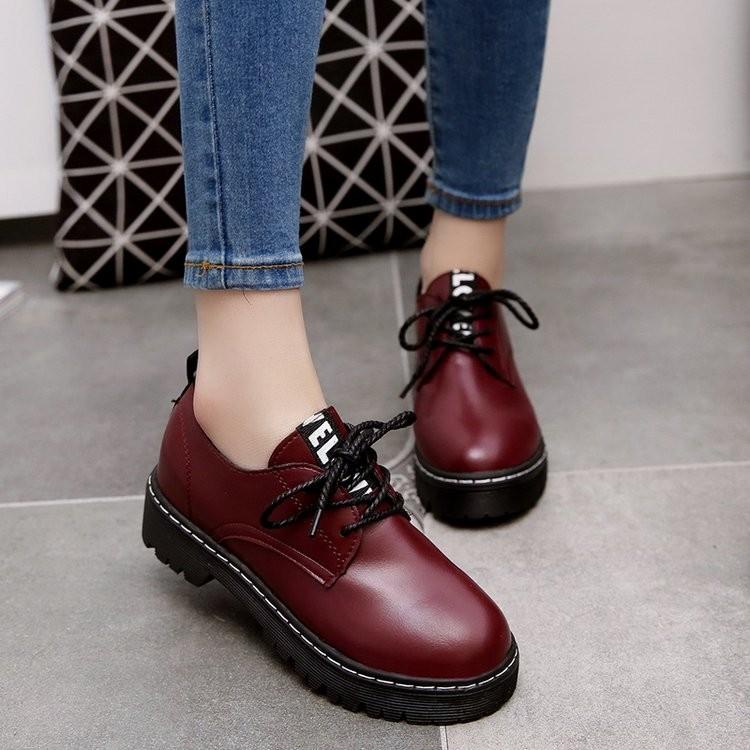 英倫復古系帶女鞋秋厚底中跟平底圓頭布洛克單鞋學院風小皮鞋女