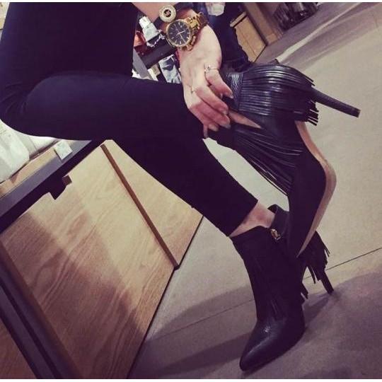 ~千惑E 閣~ 靴短靴歐洲站尖頭高跟單鞋性感細跟顯瘦短靴女流蘇及踝裸靴子秋 靴子女靴女裝