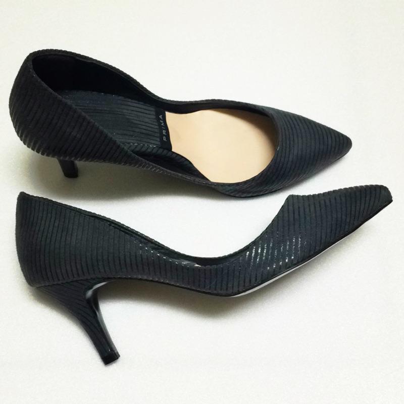 ✨Prima 正韓灰色低跟鞋高跟鞋條紋麂皮植絨布面韓國製