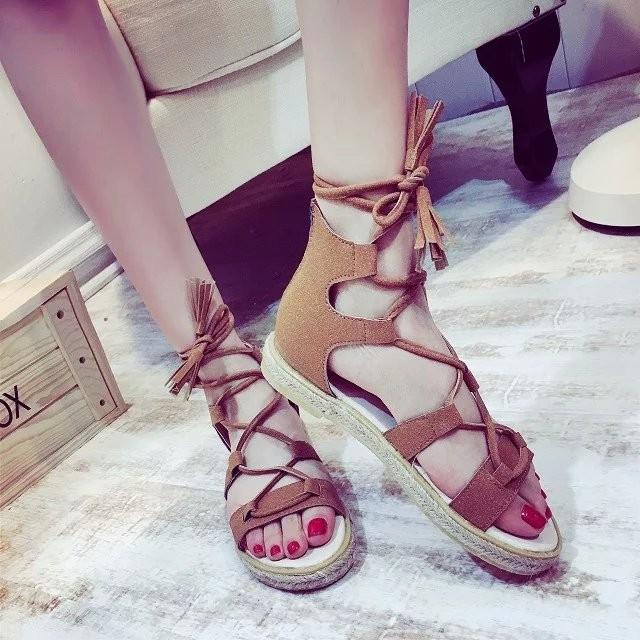 夏款羅馬鞋平底鞋草編麻繩系帶女鞋細帶露趾流蘇包跟涼鞋