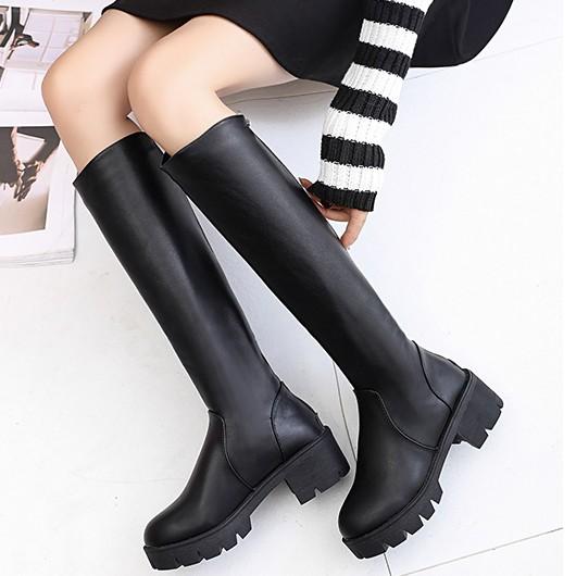 秋 長靴皮加絨高筒靴粗跟顯瘦厚底長筒靴高跟騎士靴子