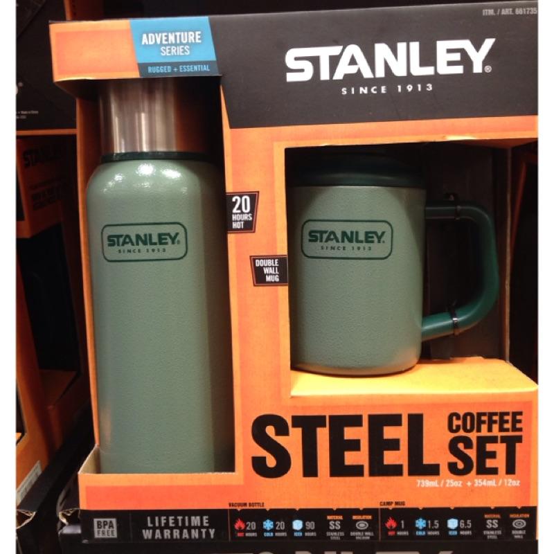好市多 STANLEY 雙層不鏽鋼真空保溫瓶739ml 雙層不鏽鋼馬克杯354 毫升深綠