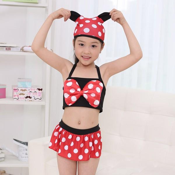 迪士尼米妮大蝴蝶結兒童女童小孩嬰兒兩件式泳裝泳衣溫泉衣
