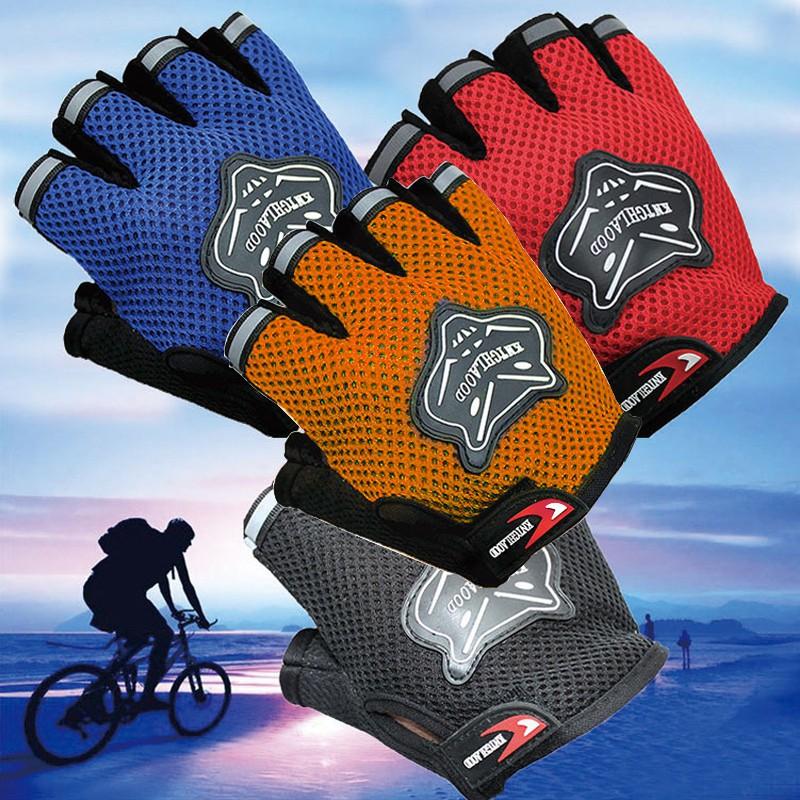 自行車越野騎行半指手套狐狸頭成人兒童網狀透氣減震戶外 手套