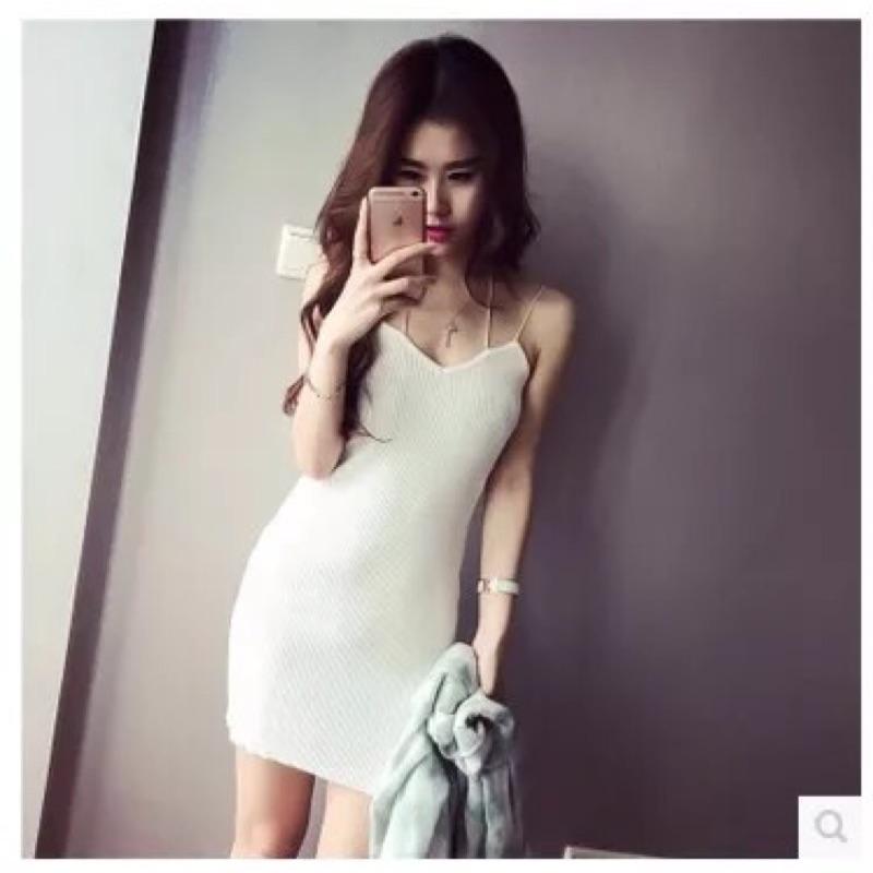 針織長版長版背心裙連衣裙極細肩帶