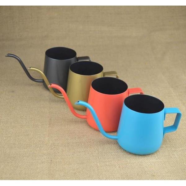 304 加厚不鏽鋼細口壺黑色特氟龍手沖壺咖啡壺掛耳咖啡壺