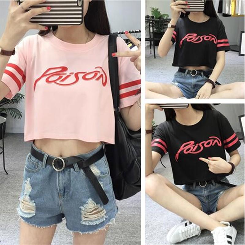 短袖T 恤 女生短版上衣學院風露臍寬鬆顯瘦圓領打底t 恤上衣~粉色黑色