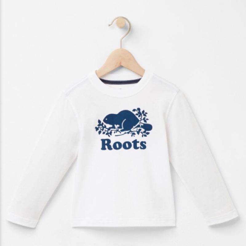 小童款✨官網同步ROOTS 白底藍色海貍款~棉質圓領長袖T 恤2T 5T