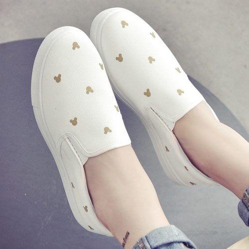 可愛卡通圖騰帆布鞋休閒懶人鞋.白鳥麗子