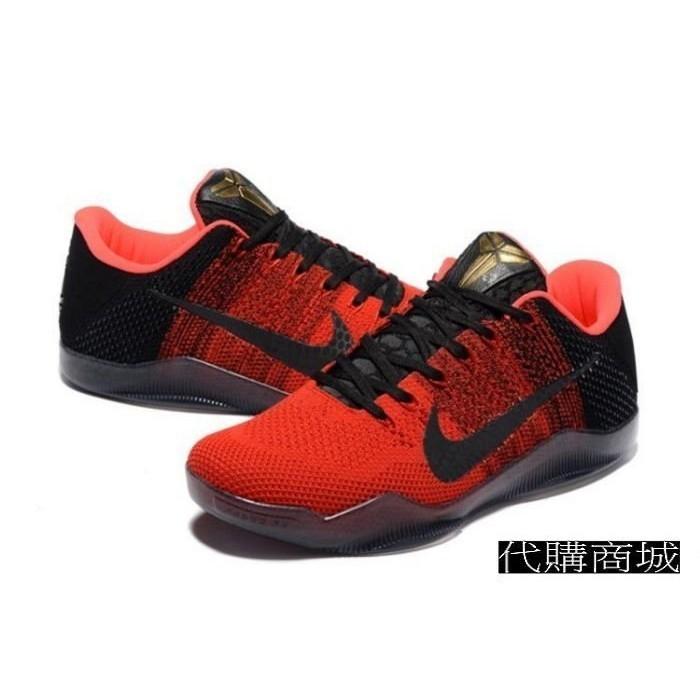 NIKE ZOOM KOBE XI Kobe 11 代編織籃球鞋紅黑男款US7 12