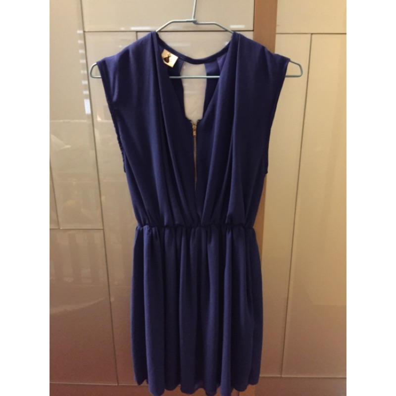 深寶藍拉鍊雪紡絲質長洋裝宴會喜宴婚禮晚宴小洋裝哺乳洋裝哺乳衣露背無袖