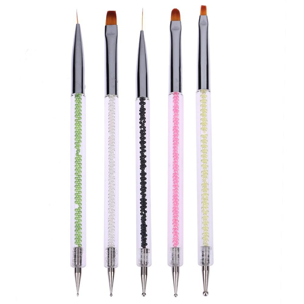 5 支套美甲筆 高檔帶鑽點鑽筆雙頭點花針美甲刷點鑽筆美甲工具