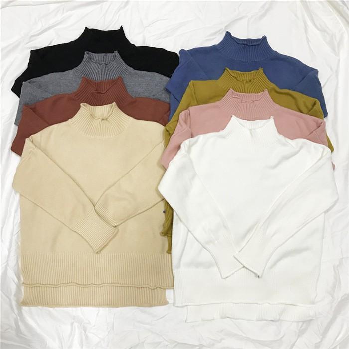 11 1 新品✨A22 捲邊針織上衣純色針織上衣前短後長高領針織半高領黑白灰粉黃藍杏紅