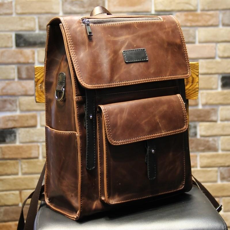 定型雙肩包瘋馬皮男包旅行包男士背包書包中學生戶外 旅游包書包肩背包側背包公事包男商務包男生