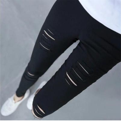 超級彈力健身護腿最 的性感穿孔休閒女裝牛仔褲