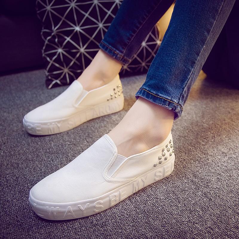 樂福鞋小白鞋平底鞋休閒鞋春小白鞋帆布鞋鞋子女百搭平底布鞋黑白色一腳蹬懶人鞋平跟 鞋