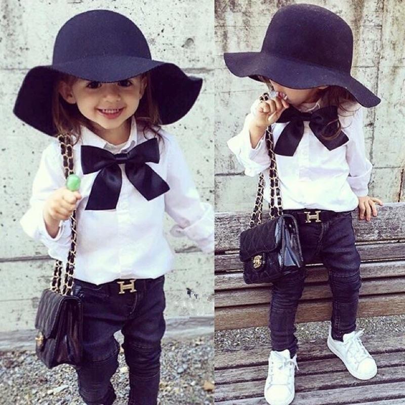 女童女寶兒童寶寶大蝴蝶結領結長袖翻領襯衫上衣ins 同款