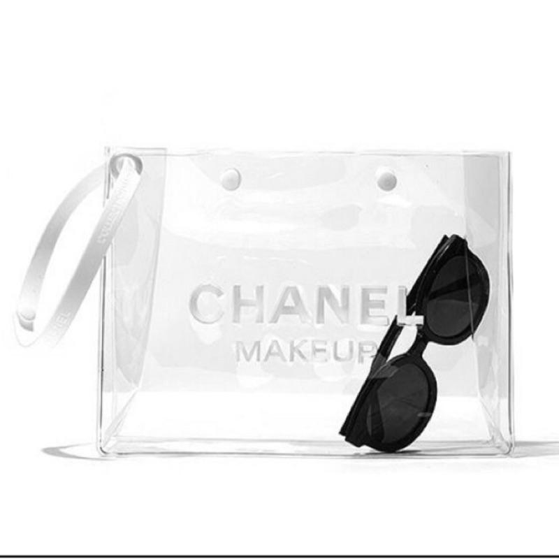 CHANEL 香奈兒小香 彩妝專櫃贈品手拿包外出旅行盥洗包透明防水游泳收納包化妝包漱洗