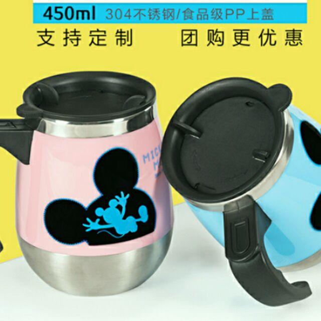 迪士尼米奇304 不鏽鋼保溫情侶杯辦公室茶水杯蓋