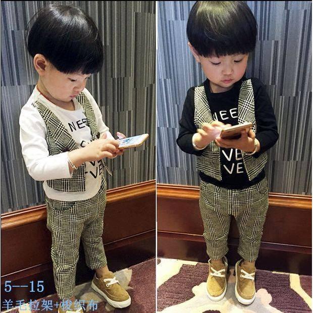 男童小紳士套裝假兩件示上衣褲子