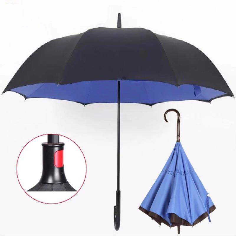 免持式反向傘女雨傘長柄男士商務傘雙層晴雨傘廣告傘