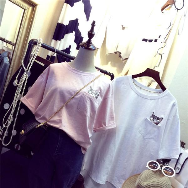 小清新刺繡小貓口袋T 恤女舒適寬鬆百搭超萌棉質短袖TEE