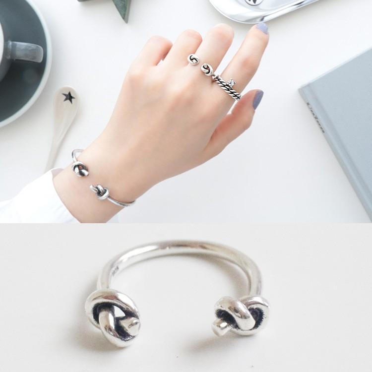 ~fashion 银~韓國 S925 純銀簡約復古 素銀開口打結雙結戒指指環