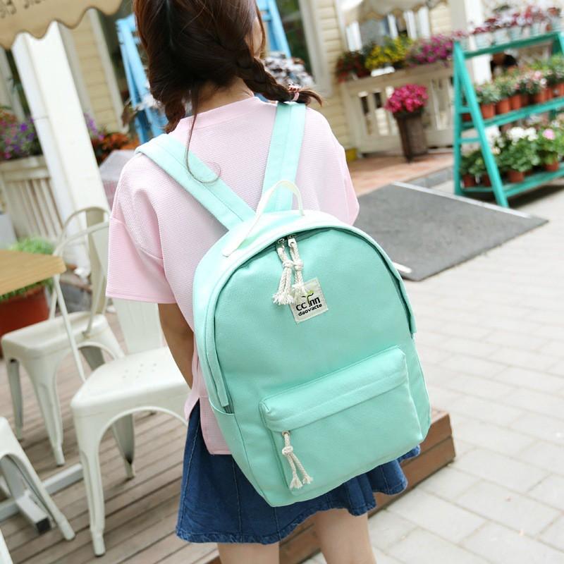 日韓簡約帆布雙肩包女 潮學院風純色中學生書包女休閒旅行背包
