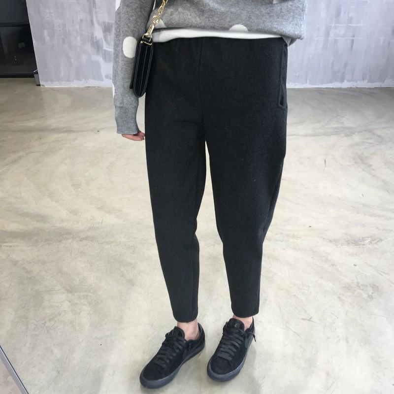 DNA rt ~YE021 ~ 彈力毛呢哈倫褲加厚小腳長褲寬鬆顯瘦 休閒蘿蔔褲