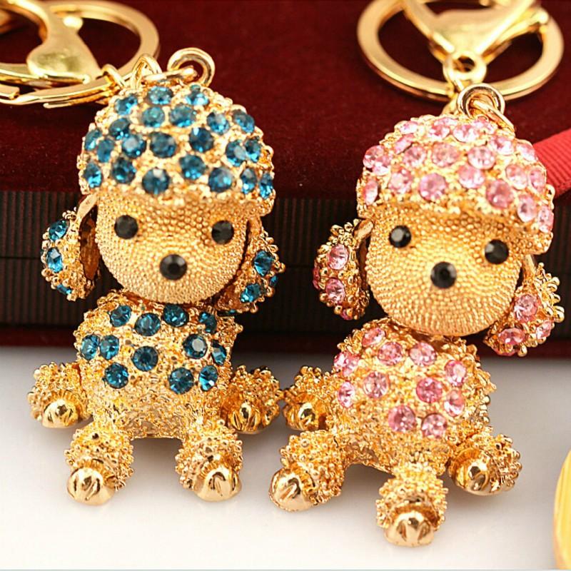 貴賓犬鑰匙扣 包包水鑽掛飾女士韓國掛飾