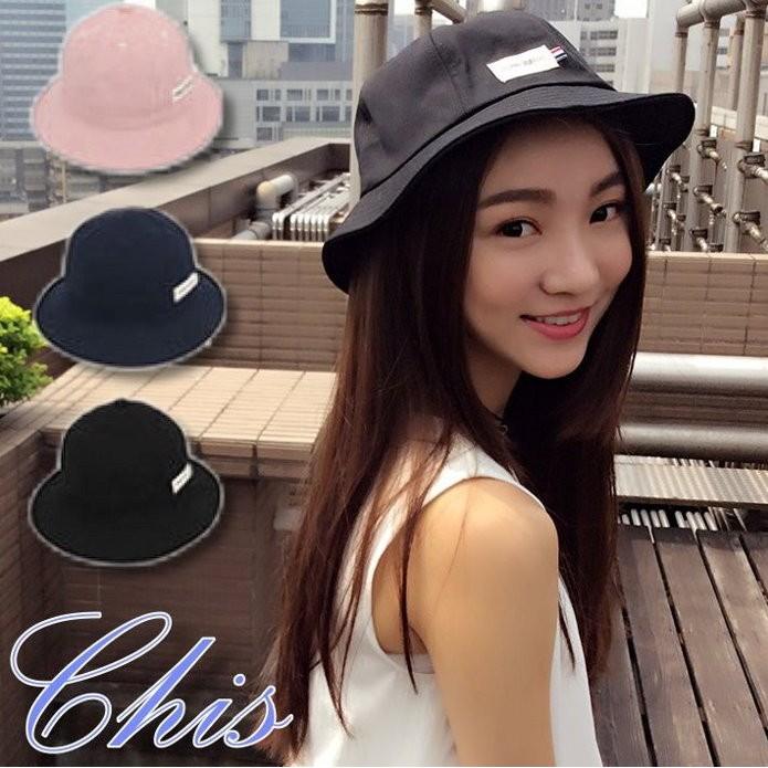 Chis Store ~小標素面盆帽~韓國 純色百搭標誌圓頂漁夫帽遮陽帽子登山帽防曬帽母親