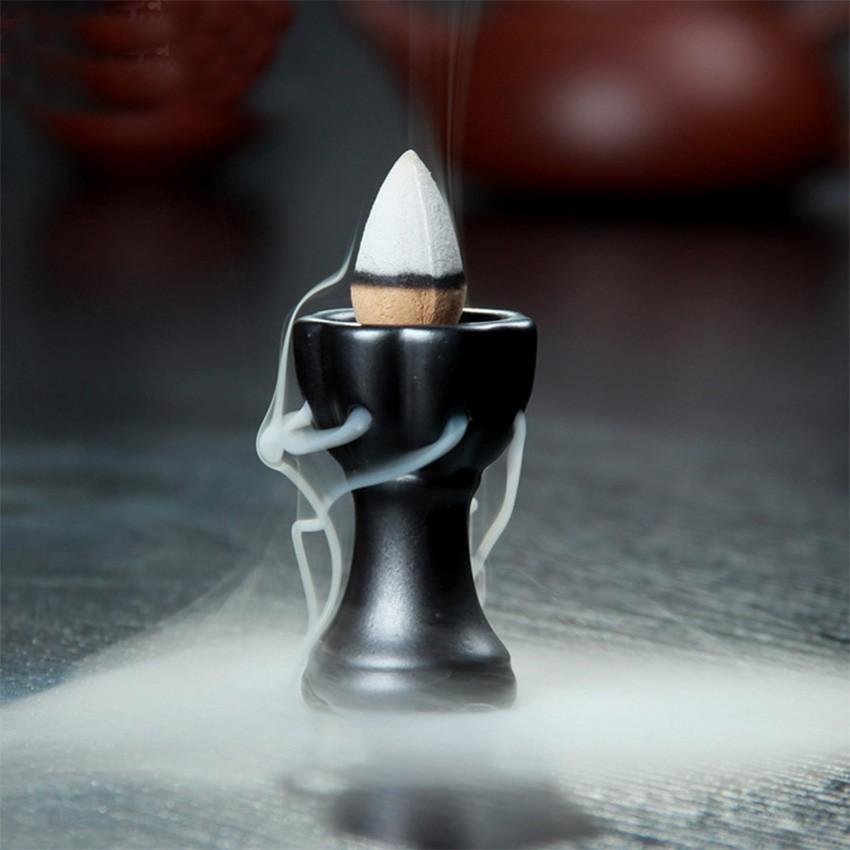 ~六蓮~陶瓷煙倒流香托復古香插香座精緻小巧線香盤香爐香道香爐