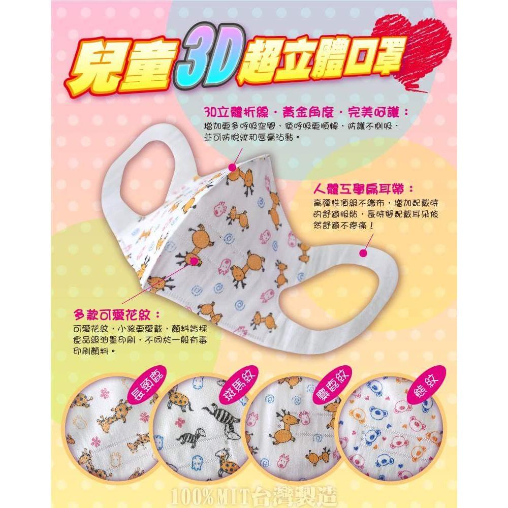 ✾兒童3D 立體口罩✾✾素色粉紅✾素色藍色✾長頸鹿✾麋鹿✾熊✾黃色小鴨✾圓仔✾小斑馬✾大象