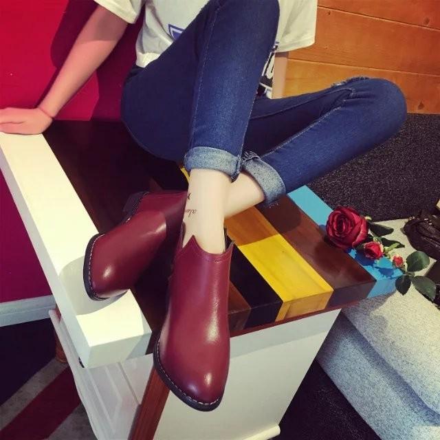馬丁靴女短靴春秋單靴英倫風短筒粗跟學生百搭高幫鞋復古靴子