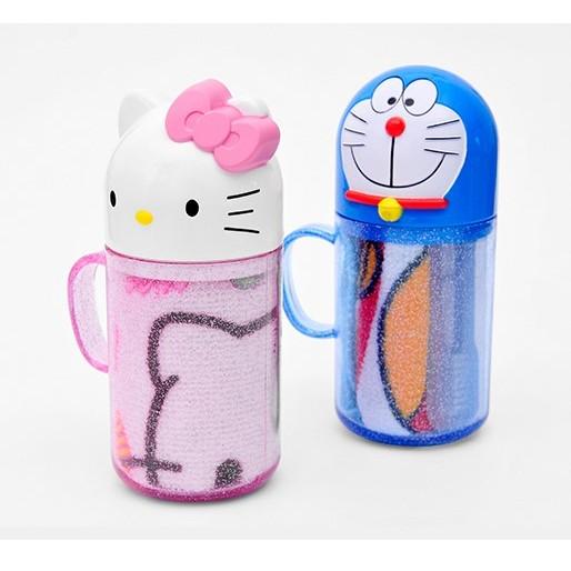 kitty 多啦A 夢旅遊洗漱三件套(牙刷水杯毛巾)/兒童洗漱套