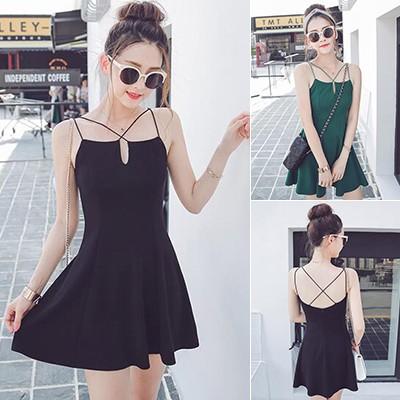 性感V 領交叉吊帶洋裝時髦連身裙短裙