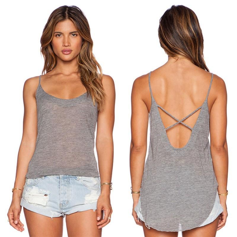 女裝夏裝無袖露背寬鬆襯衫背心