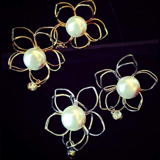 ╭~蕾兒0509 ~╮FB036 韓國大耳環名媛氣質珍珠立體花兒水鑽耳釘耳環耳飾品
