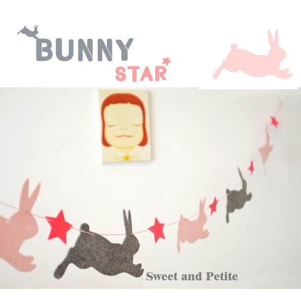PR317 ❤粉嫩小款~兔子星星不織布 吊飾❤兔寶寶慶生派對裝飾生日布置掛飾拍照道具小孩房