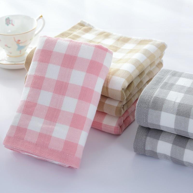 ~ ~外貿原單純棉紗布毛巾全棉格子成人洗臉面巾吸水柔軟小方巾情侶